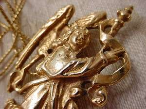 Detailed Gold tone Angel Pendant Necklace Alva Museum Replica