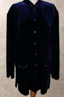 Dark Blue SZ XL Stretch Velour Long Sleeved Blouse Top Shirt