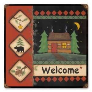 Welcome Cabin Vintage Metal Sign Home Home & Kitchen