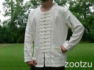 Small White Chinese Frog Many Buttons Shirt Jacket Renaissance Pirate