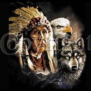 SHIRT   NATIVE AMERICAN   Indian,Eagle,Wolf   SM XL