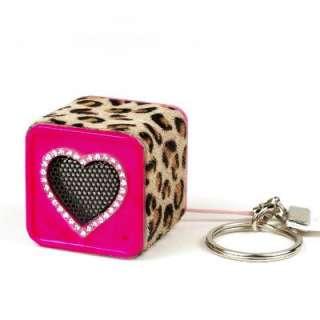 Chicboom Keychain Speaker Leopard Swarovski Crystal Heart Chicbuds