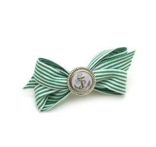 Green White Stripe Ribbon Bow Anchor Button Hair Clip