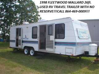 NO RESERVE 1998 FLEETWOOD MALLARD 26ft USED RV TRAVEL TRAILER SLEEPS 6