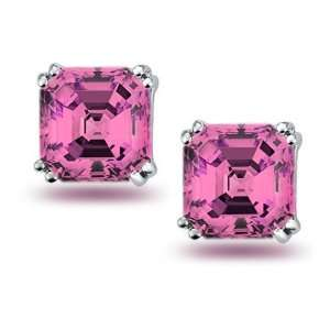 Bling Jewelry 8mm Asscher Cut Pink CZ Stud Earrings 925