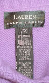 RALPH LAUREN Cashmere Angora Wool Tneck Sweater 2X