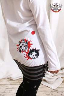 CUTiE Punk ANGRY KILLER KITTY CAT Ear Hoody DRESS SHIRT