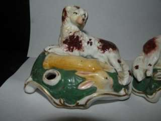 Pr. ANTIQUE STAFFORDSHIRE INKWELLS SPANIEL RABBIT RIGHT & LEFT FACING
