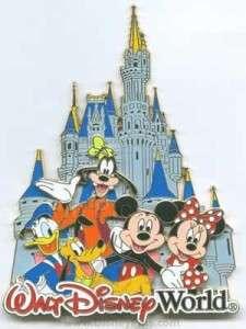 Disney Pin 3D Jumbo ~ Castle ~ Fab 5 Mickey Goofy Pluto