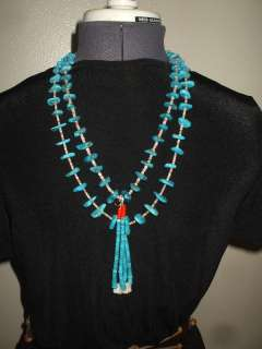 OLD PAWN Pueblo NAVAJO Turquoise Slab & Disc Heishi NECKLACE w/ JOCLA