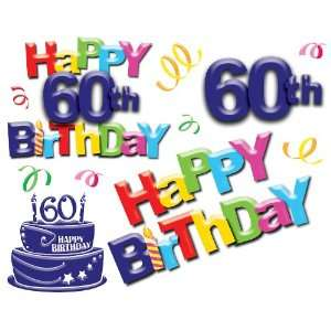 Happy 60th Birthday Giant Wall Decals: Home & Kitchen