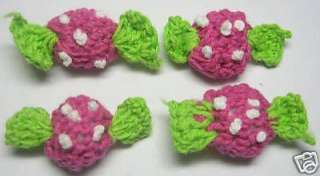 Padded Crochet Candy Appliques x 15 Hot Pink Baby/Trim