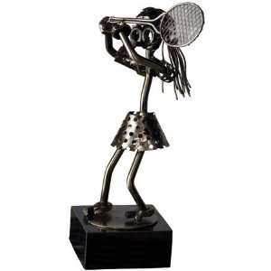 Unique Nuts and Bolts Female Tennis Player Trophy on