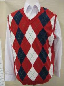 Mens New Light Weight Sweater Vest Argyle Design ESMX Red/Blue Style