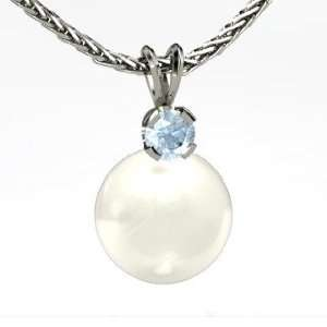 Europa Pendant, White Cultured Pearl 14K White Gold Necklace with