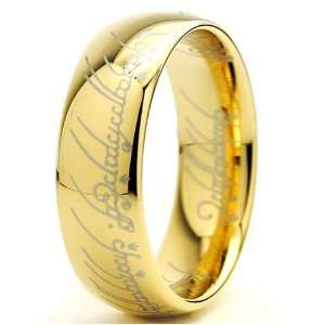 OF THE RINGS High Polish Gold Plated Tungsten Carbide Ring 7MM Size 11