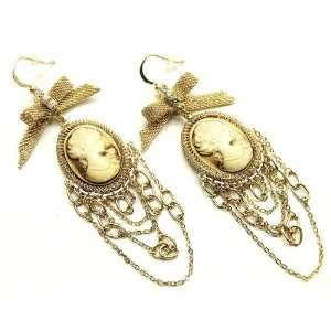 EFM Beautiful Vintage Cameo Framed Cameo Girl Dangle Earrings Gold