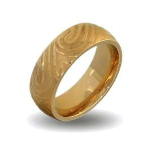 Mens Gold Plate Stainless Steel Mokume Gane Swirl Ring Size 10 (Sizes