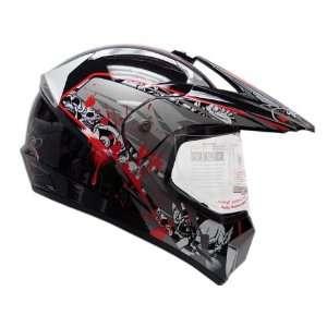 Black Motocross Dirt Bike MX ATV UTV Dual Sport Hybrid Helmet DOT with