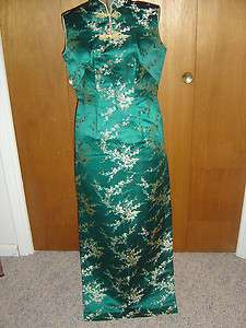 VTG Asian Oriental Maxi Dress Teal Gold Brocade M 60s
