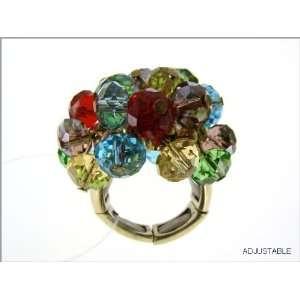 Silver Tone Adjustable Rainbow Beaded Ring True Fashion
