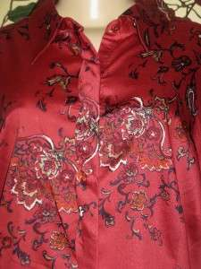 COLDWATER CREEK WOMANS RED SHAPED FLORAL SHIRT BLOUSE TOP PLUS SIZE