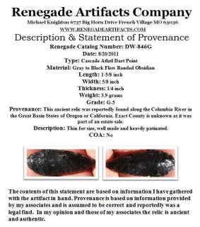 ARROWHEAD COLUMBIA RIVER CASCADE ATLATL DART DW 846G
