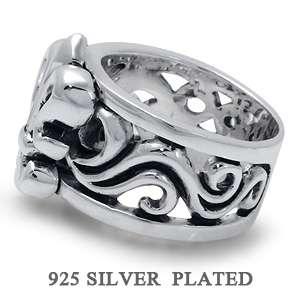 Silver Plated Brass FLEUR DE LIS w/ TRIBAL TATTOO Mens Ring