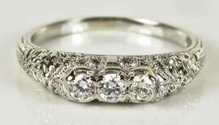 Antique 14k White Gold Filigree 1/3ctw Genuine G VS1 Diamond Ring 3.4g