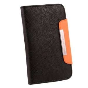 lack Book Type Folio Leather Case Cover For Samsung Galaxy