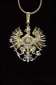 Germany Phoenix Cut Coin Pendant Necklace 7/8 diameter