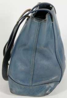 Coach Blue Leather Soho Tote Shopper Carry All Shoulder Bag Handbag