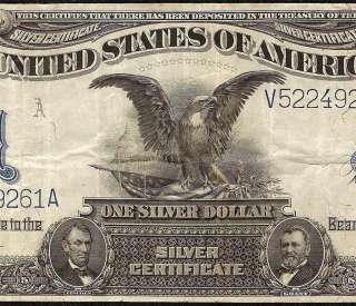 LARGE 1899 $1 DOLLAR BILL SILVER CERTIFICATE BLACK EAGLE NOTE Fr 236