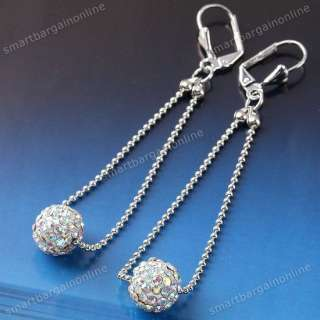 Crystal Pave Disco Fimo Ball Rhinestone Ear Earring Lever Back