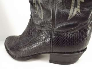 Mens boots black Tony Lama 10.5 EE snakeskin leather cowboy western