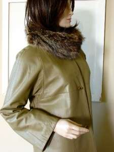 Sills Raccoon Fur & Leather Coat Toggles Retro Iconic Chic