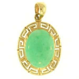 Natural Oval Green Jade 14kt Gold Pendant Jewelry