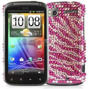 Ecell   HOT PINK ZEBRA BLING BACK CASE COVER FOR HTC