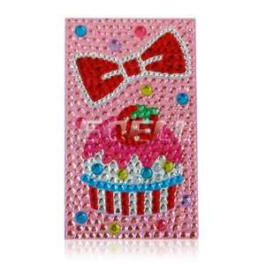 CAKE & BOW 3D RHINESTONES CRYSTAL PHONE BLING STICKER Electronics