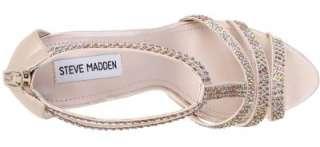 Steve Madden SHOWSTOP Platform T Strap Dress Sandal Satin Champaign
