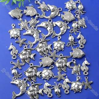 40pc Tibetan Silver Mixed Sea Ocean Animal Charm Pendant Fish Bead