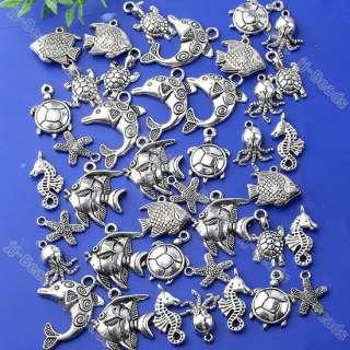 40pc Tibetan Silver Mixed Sea Ocean Animal Charm Pendant Fish Bead