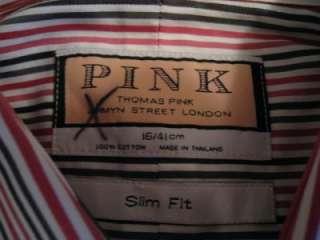 THOMAS PINK NWT PINK/BLACK SLIM FIT SPECK STRIPE SZ 16 DOUBLE BUTTON
