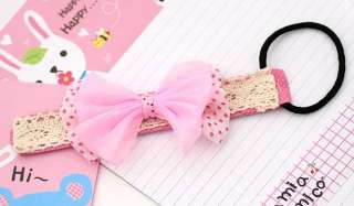 Japan Korean Style Cute Dot Pink Blue Ribbon Bow Hair