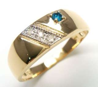 REAL 10KT YELLOW GOLD NATURAL BLUE & WHITE DIAMONDS MENS RING SIZE 7