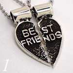Heart Couple/Best Friends/Lovers Charm/Pendant 925 Sterling Silver