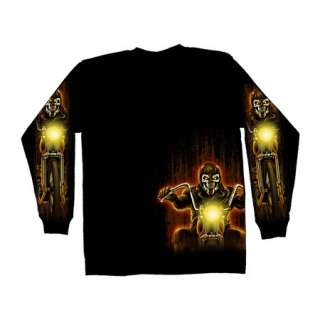 BIKER SKULL MIDNIGHT RIDER LONG SLEEVE T SHIRT (L  3XL