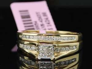 PRINCESS CUT DIAMOND ENGAGEMENT RING BRIDAL SET WEDDING BAND