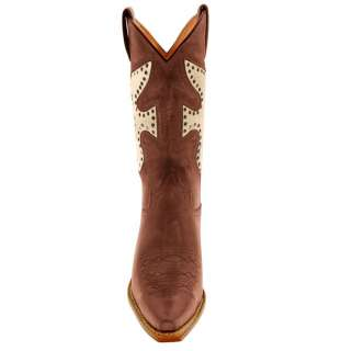 New FRYE Daisy Duke Chocolate / Gold Leather Western Boots 10 M $479