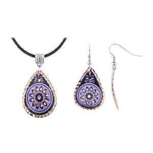 Copper Purple and Black Enamel Teardrop Flower Earrings and Necklace